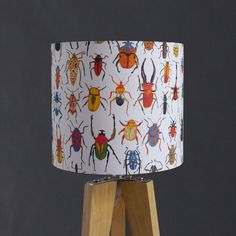 Lampshade featuring illustrated bugs and exotic creepy crawlies from all over the world. Bright and colourful.