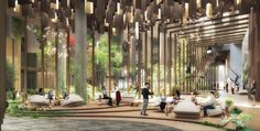 World Architecture Community News - Kengo Kuma unveils design for Eco-Luxury Hotel comprised of wooden and plant covered facade Hotel Ny, Casa Hotel, Hotel Paris, Paris Hotels, Hotel Lobby, Rome Hotels, Istanbul Hotels, Backyard Canopy, Diy Canopy