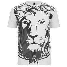 Versus Versace Men's Lion T Shirt - White (485 MYR) ❤ liked on Polyvore featuring men's fashion, men's clothing, men's shirts, men's t-shirts and white