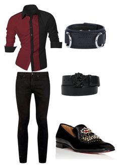 """""""Look Mick Jagger Encontro"""" by thamiresgiglio on Polyvore featuring Topman, Versace, Dsquared2, Christian Louboutin, men's fashion e menswear"""