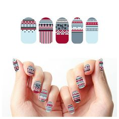 Ugly Christmas Sweater Holidays Winter Stripes Reindeer Snow Pattern Red Blue White Nail Wraps (Set of 22)