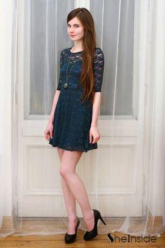#SheInside Green Half Sleeve Blet Lace Skater Dress - Sheinside.com