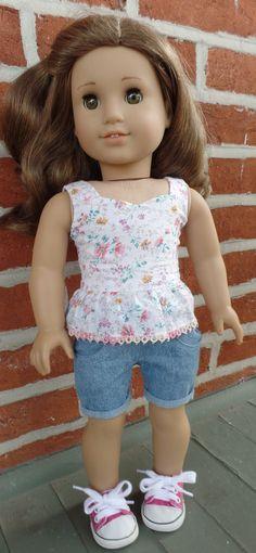 American Girl doll separates: peplum top by GumbieCatDollClothes American Girl Clothes, Girl Doll Clothes, American Girls, Ag Dolls, Girl Dolls, Peplum Top Pattern, Doll Wardrobe, Jane Clothing, Girl Clothing