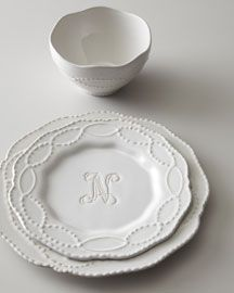 Monogrammed plate in white. Ina Garten always says food looks better on white plates!