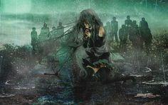 Télécharger fonds d'écran Hatsune Miku, de la pluie, du manga, de Vocaloid
