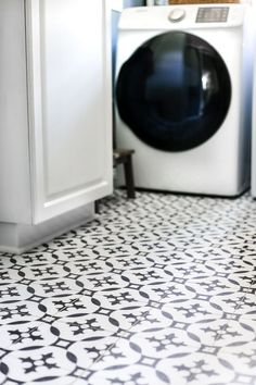 A DIY tutorial for how to install moroccan peel & stick vinyl tiles. Less messy than paint. Less time-consuming and less expensive than real tile! #vinyltile #moroccantile #peelandsticktile #patternedtile #patternedfloor #peelandstickvinyl #laundryroom #floormakeover #diyfloor