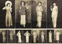 Cheongsam gowns.  http://www.chinaodysseytours.com/shanghai/photo2/old-shanghai/qipao/1930s.jpg