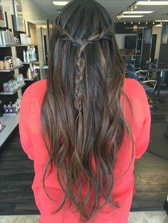 Long Layers. Waterfall brad. Blonde balayage Ombre Highlights on Long Brown brunette hair. Dallas Roberts Salon, West Jordan, Utah. Hair Salon.