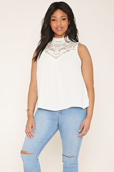 FOREVER 21+ plus size crochet-paneled top