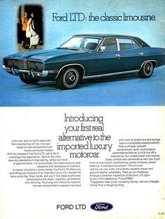 1974 LTD by Ford Aussie Original Magazine Advertisement Retro Cars, Vintage Cars, Aussie Muscle Cars, Ford Ltd, Australian Cars, Car Brochure, Ford Lincoln Mercury, Ford Classic Cars, Ford Fairlane