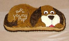 Puppy Dog Cake - Just A Young Pup Made with the Wilton Puppy Dog cake pan. Puppy Dog Cupcakes, Puppy Cake, Puppy Birthday Parties, Dog Birthday, Birthday Ideas, Unicorn Birthday, Pound Puppies, Dogs And Puppies, Bithday Cake
