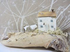 Windy cliff top driftwood cottage with blustery washing line