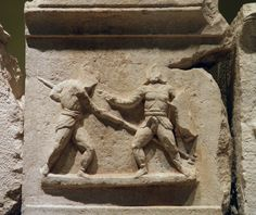 - Frieze with gladiator figures, 2nd - 3rd century AD, from the necropolis at Kibyra, Burdur Museum ./tcc/
