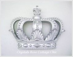 Metallic Silver Fleur De Lis Bed Crown Canopy or Wall Crown Princess or Prince, Finish Choices Girls Room  Nursery Decor  Baby Shower Gift
