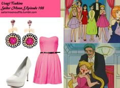 Like Sailor Moon Outfits on Facebook! Charlotte Russe crinkled patent almond-toe pump in White Paprika strapless belted dress in Bubblegum Pink Tarina Tarantino candy cameo rose filigree earrings in Pink