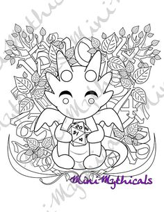 Kawaii Dice Dragon Adult Coloring Page Cute Mythical Creature