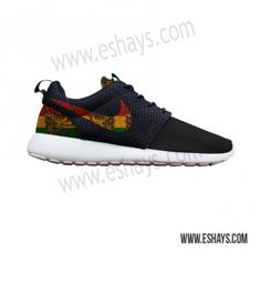 6e58c44bd371 Custom Roshes- Jamaican Rasta Print Nike Roshe Run - Women