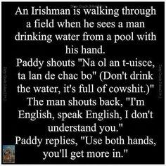 Ná ól an t-uisce! Irish Memes, Irish Quotes, Irish Humor, Irish Sayings, Funny Sayings, Irish Toasts, Best Funny Jokes, Hilarious, Funny Irish Jokes