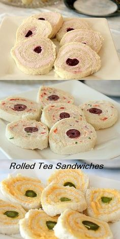 Tea Sandwiches Cherry Cream Cheese, Creamy Goat Cheese and Cheese Whiz- delectable, dainty tea sandwiches!Cherry Cream Cheese, Creamy Goat Cheese and Cheese Whiz- delectable, dainty tea sandwiches! Pinwheel Sandwiches, Mini Sandwiches, Finger Sandwiches, English Tea Sandwiches, Sandwiches Afternoon Tea, Tea Recipes, Cooking Recipes, Tea Party Sandwiches Recipes, Cooking Tips