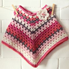 crochet wool poncho   granny stripes   pink white grey