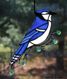 Blue Jay Glass Suncatcher by connysstainedglass on Etsy