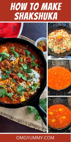 This shakshuka recipe is an easy egg dish for your brunch and dinner menus. Spicy tomatoes are topped with poached eggs and served with pita for dipping. Easy Egg Recipes, Egg Recipes For Breakfast, Dinner Recipes, Sunday Breakfast, Middle Eastern Dishes, Middle Eastern Recipes, How To Make Shakshuka, Shakshuka Recipes, Egg Dish
