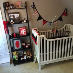 Crib, bunting, mobile & toys.