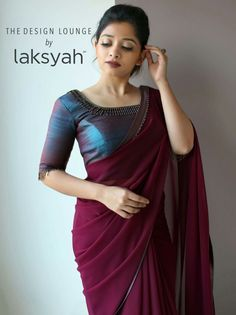 Marooncolour saree with silkblouse blueblouse - Saree Styles Saree Jacket Designs, Half Saree Designs, Saree Blouse Neck Designs, Fancy Blouse Designs, Blouse Neck Models, Trendy Sarees, Stylish Sarees, Fancy Sarees, Sari Design