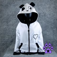 Pawstar STITCH HEART PANDA Hoodie Jacket valentine Cosplay Costume... ($100) ❤ liked on Polyvore featuring costumes, stitch costume, panda bear costume, blue costume, blue halloween costume and animal costumes