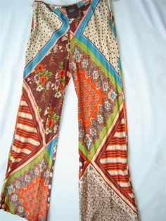 Jean Paul Gaultier Multi Print Boho Chic Silk Pant On Sale. $259.00, via Etsy.