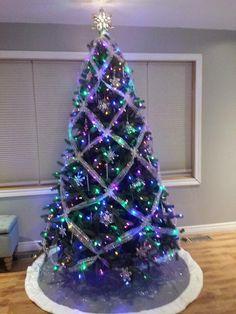 Purple And Silver Christmas Trees.Christmas Tree Purple And Silver Purple Rain Xmas