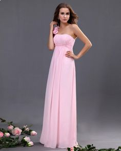 One Shoulder Chiffon Floor Length Bridesmaid Dress