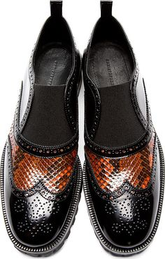 Christopher Kane: Black Snakeskin Accent Brogues