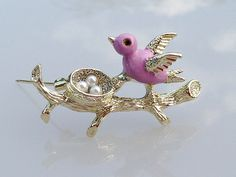 CLEaRANCE SaLE, A Signed Vintage bird brooch. Gerry's Brooch. Figural jewelry, tree, swallow brooch. Pink Bird with nest. by TheOldJunkTrunk on Etsy
