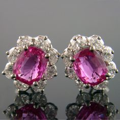 Pink Sapphire and Diamond Earrings Designed by Oscar Heyman