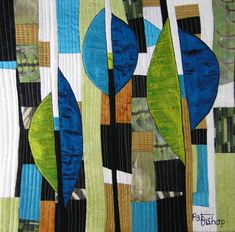 Three of a Kind by Pat Bishop.  2012 SAQA Benefit Auction.  Posted at Fiber Artists Coalition.