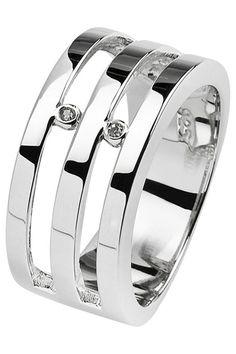 Secret Diamonds Ladies' Double Bar Ring In Sterling Silver