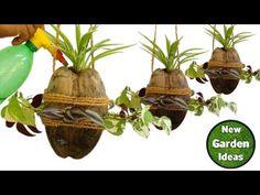 How to Make Coconut Hanging Pot// beautiful hanging pot making at home Hanging Orchid, Hanging Pots, Diy Garden Decor, Garden Art, Orchids Garden, Diy Plant Stand, Bottle Garden, Fruit Garden, Painted Pots