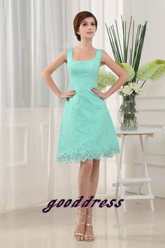 Custom Handmade Noble A Line Green Lace Straps Lace Knee length Formal Short Evening/Prom/Party/Bridesmaid/Homecoming/Cocktail Dress Gown on Etsy, $126.00