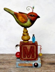 Folk art bird assemblage by Greg Guedel ~ Carved wood, rusty tin and found objects