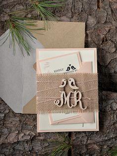 Rustic Wedding Invitation, Peach Wedding Invitation, Lovebirds Invitation , Wood Wedding Invitation