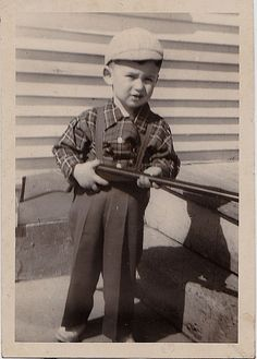 Antique Photograph Little Boy Wearing Overalls & Hat Holding Rifle Gun