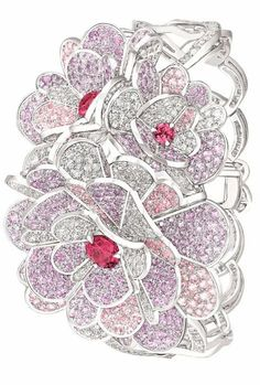 Camélia Origami bracelet from the Chanel Jardin de Camélias collection. White gold set with diamonds, pink and purple sapphires, and pink spinels. Via Diamonds in the Library. Purple Sapphire, Byzantine Art, Chanel Jewelry, Jewelry Design, White Gold, Design Inspiration, Jewels, Floral, Origami