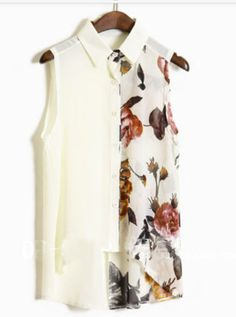 Beige Ink Floral Print Sleevelless Chiffon Sheer Shirt