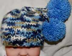 Hand Knitted Baby Boy  Cap Baby Girl Hat pom by picoloknitting, $15.00
