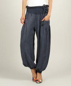 Look at this #zulilyfind! Navy Noemie Linen Harem Pants by Un Coeur en Ete #zulilyfinds