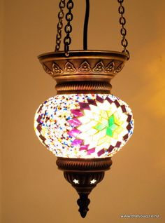 Turkish Lanterns - 22cm Mosiac Lantern, Mixed color - Shopping The Souq