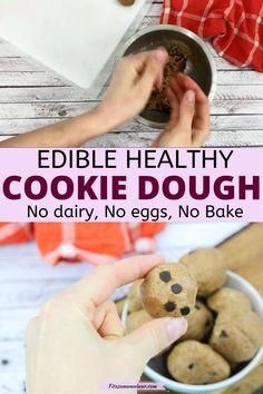 No Bake Cookie Dough, Healthy Cookie Dough, Edible Cookie Dough, Healthy Cookies, No Bake Cookies, Healthy Desserts For Kids, Easy Snacks, No Bake Desserts, Healthy Snacks