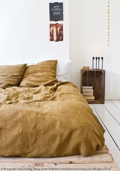 curry stonewashed linen duvet cover from BODIE and FOU. Photography: Francois Kong, Styling: Karine Kong. For more inspiration, head to www.karinecandicekong.com