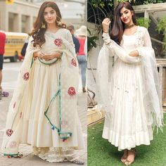 Twice as nice? Shadi Dresses, Pakistani Formal Dresses, Indian Gowns Dresses, Pakistani Dress Design, Pakistani Fashion Casual, Pakistani Outfits, Indian Fashion, Bollywood Fashion, Indian Attire
